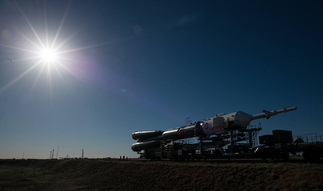The Soyuz rocket is rolled out by train to the launch pad, Monday, June 4, 2018 at the Baikonur Cosmodrome in Kazakhstan.