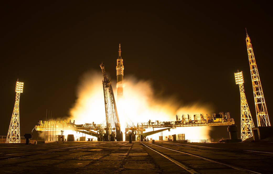Nighttime liftoff of Soyuz rocket