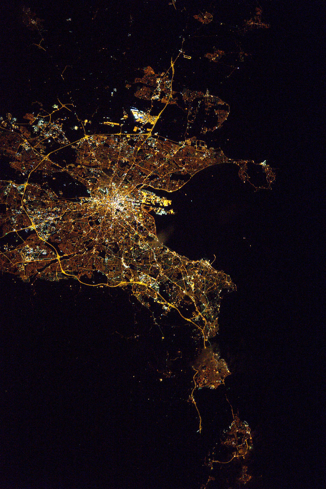 Nighttime view of Dublin, Ireland from low Earth orbit