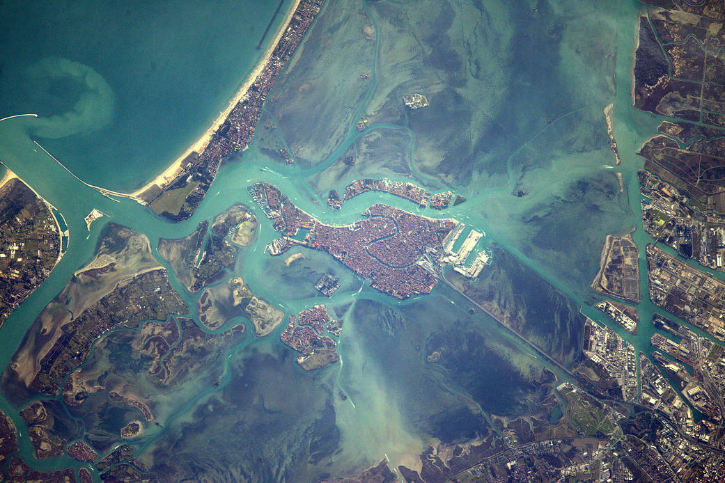 Daytime view from Earth orbit of city and canals of Venice, Italy