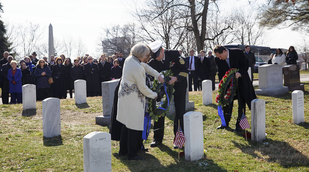 Family of astronaut Roger Chaffee and acting NASA Administrator place wreaths at graves