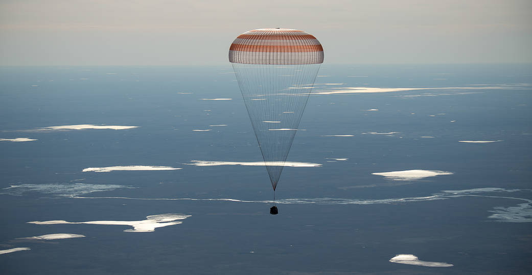 The Soyuz MS-02 spacecraft is seen as it lands with Expedition 50 crew