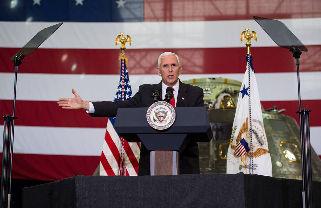 Vice President Mike Pence addresses NASA employees