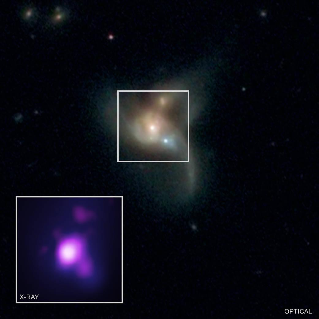 ภาพเปรียบเทียบของ SDSS J0849+1114 ระหว่างข้อมูลภาพ Optical และ X-RAY