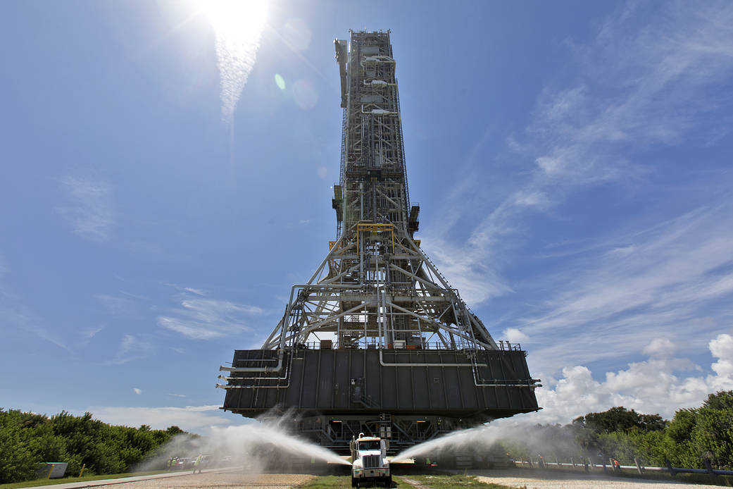 NASA's crawler-transporter 2 with the mobile launcher atop