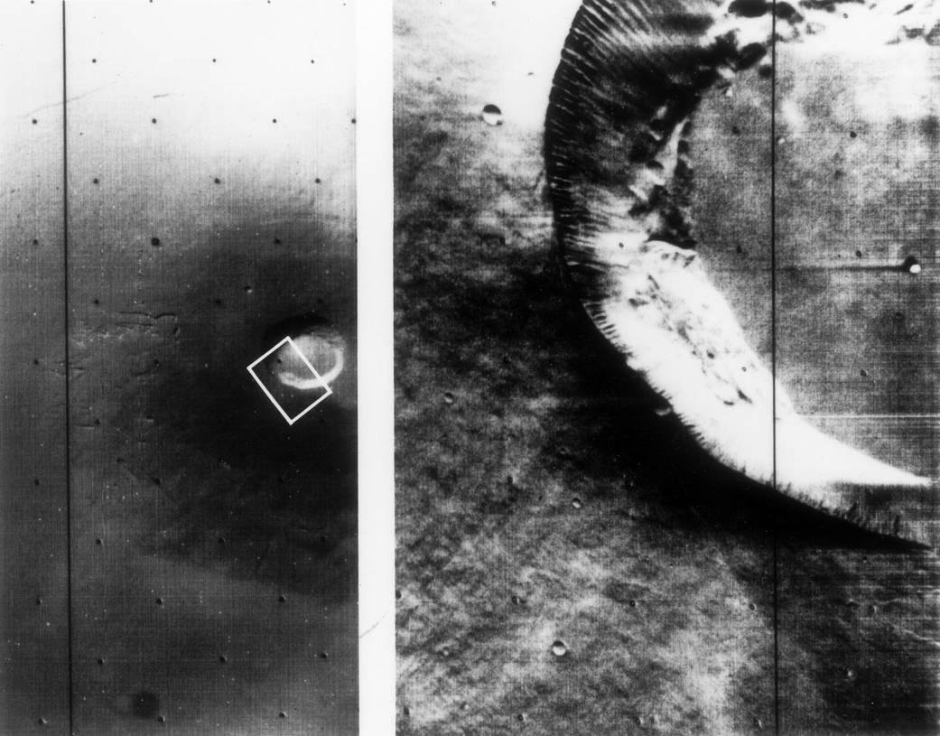 Mariner 9 views of shield volcano on Mars