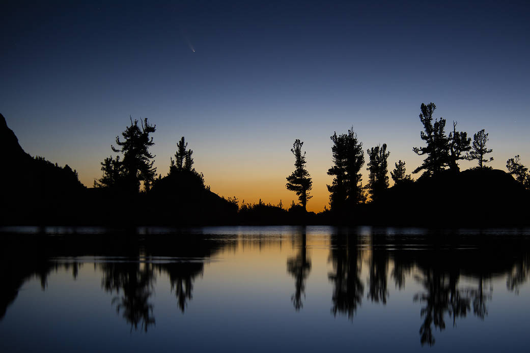 n image of the Comet C/2020 F3 NEOWISE (Comet NEOWISE) captured above the tree line of Lone Pine Lake.