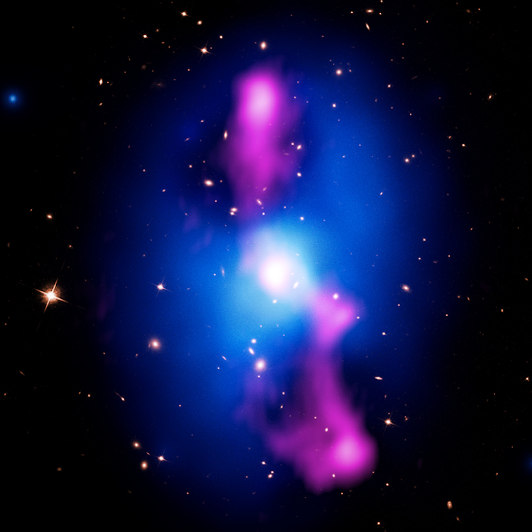 Bright jets bursting in blue circle with pink at top center and bottom center against deep space