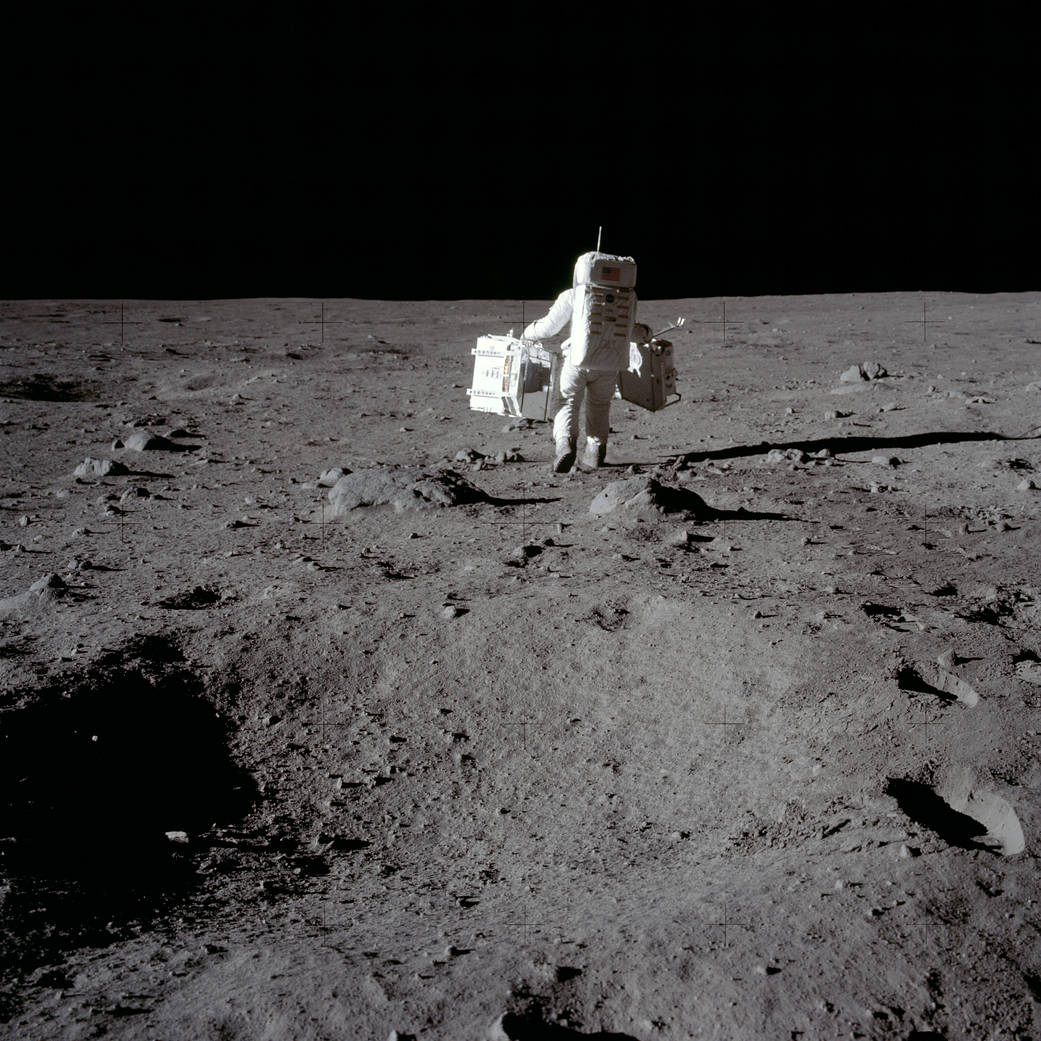 Buzz Aldrin on the lunar surface