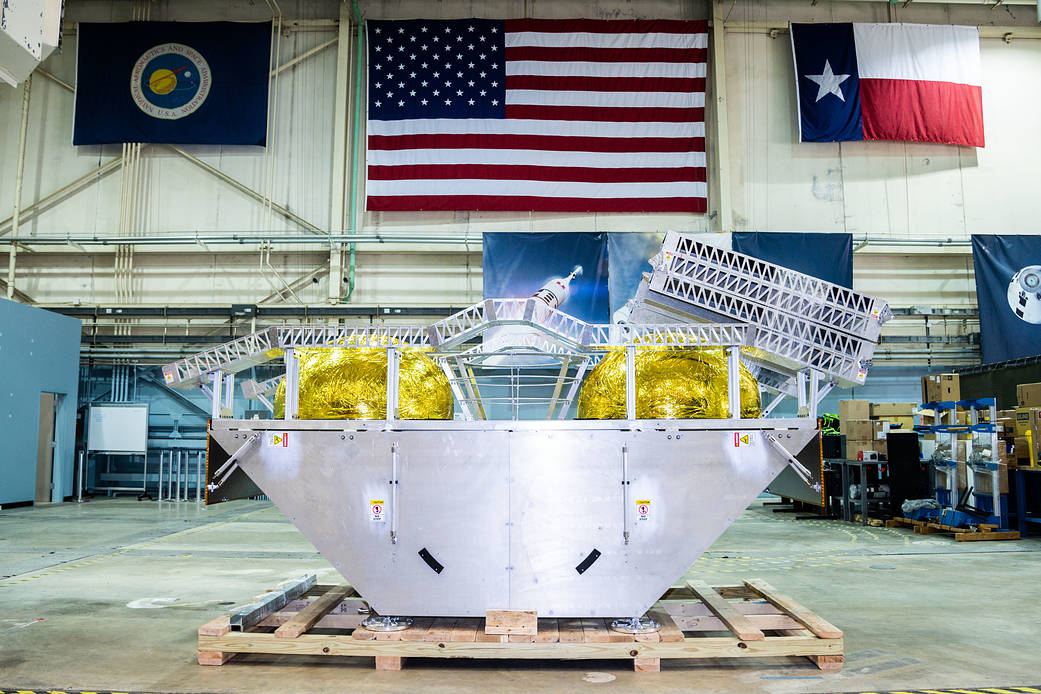 Astrobotic's Griffin lander mockup sits in JSC's Building 9