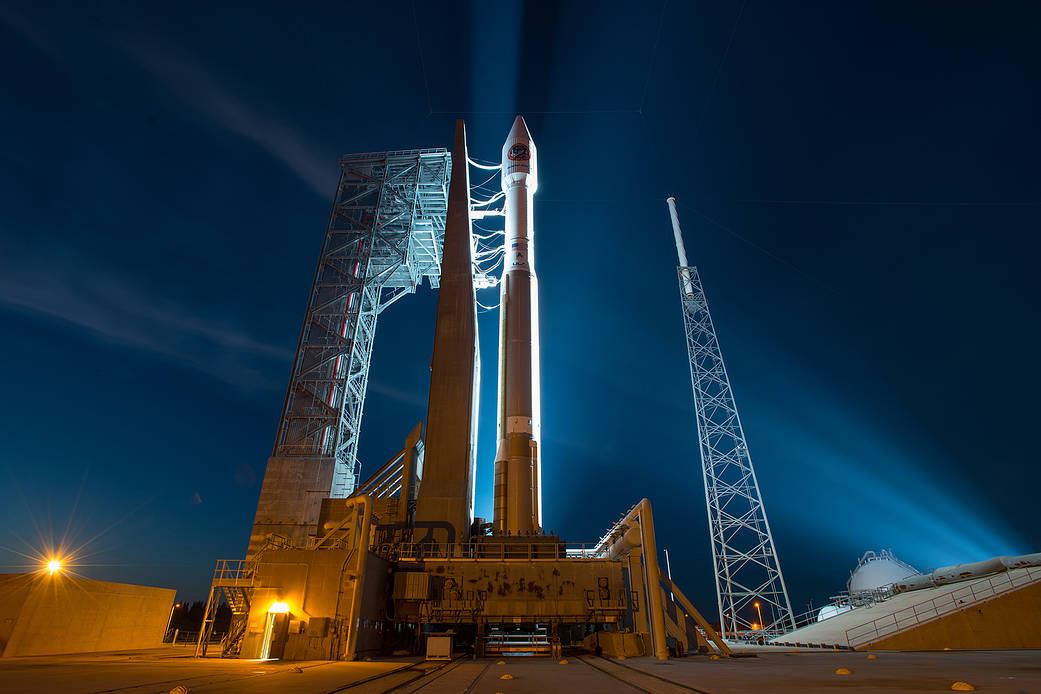 The Cygnus spacecraft sits on top of an Atlas V rocket ready for launch to the International Space Station on March 22, 2016.