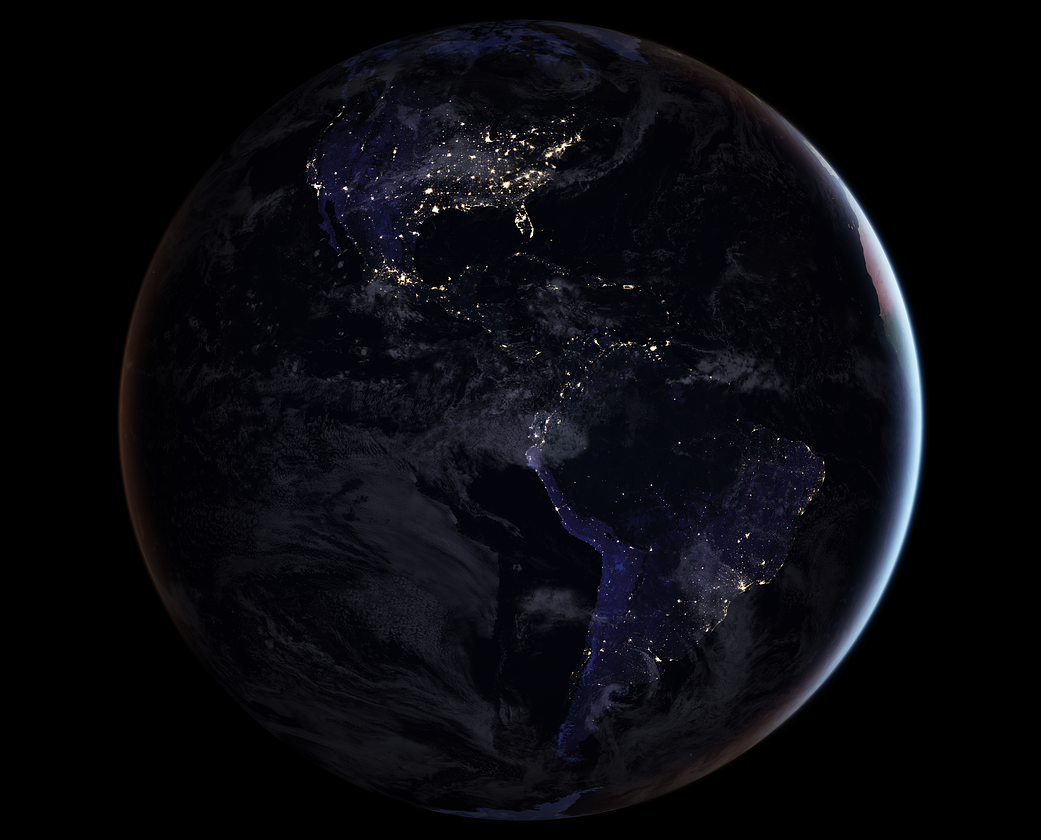 Nighttime satellite image of Earth showing North and South America