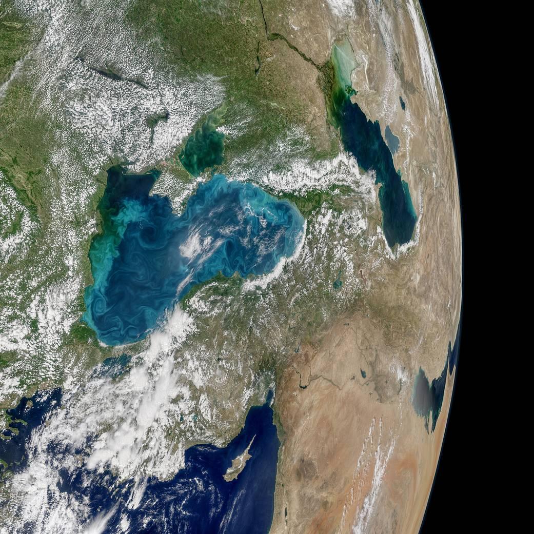Космос: NASA показало Черное море во время цветения планктона (ФОТО)