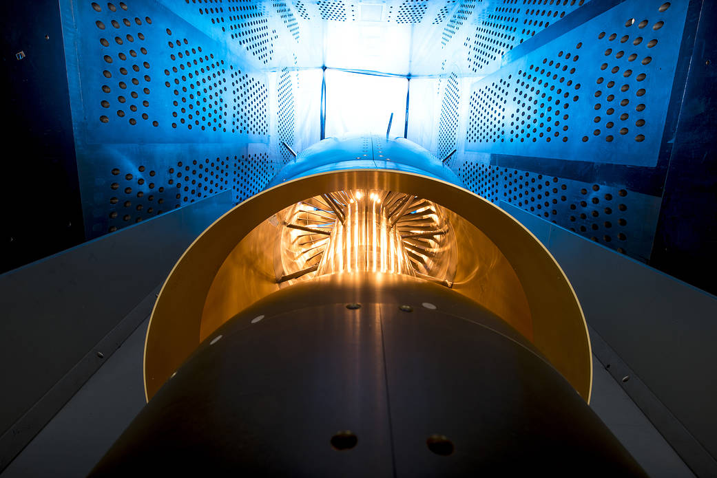 Inside the 8' x 6' wind tunnel at NASA Glenn, engineers recently tested a fan and inlet design, commonly called a propulsor