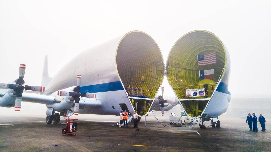 NASA's Super Guppy airplane ready to transport Orion spacecraft to Kennedy Space Center.