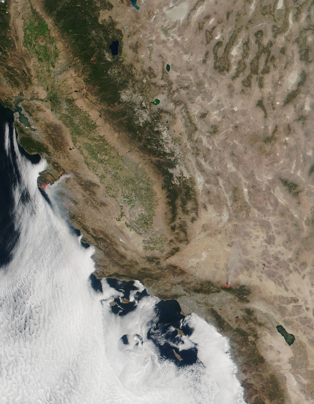 fires in California, seen from space