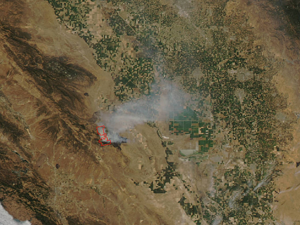 satellite image of fire in California