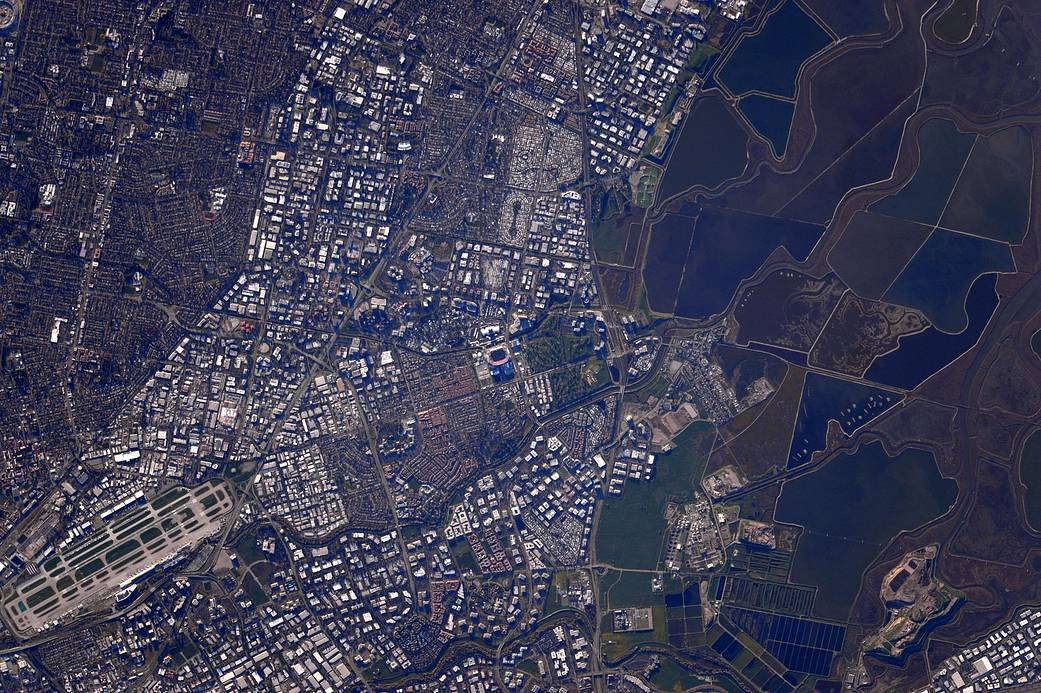 Santa Clara, California area photographed from low Earth orbit