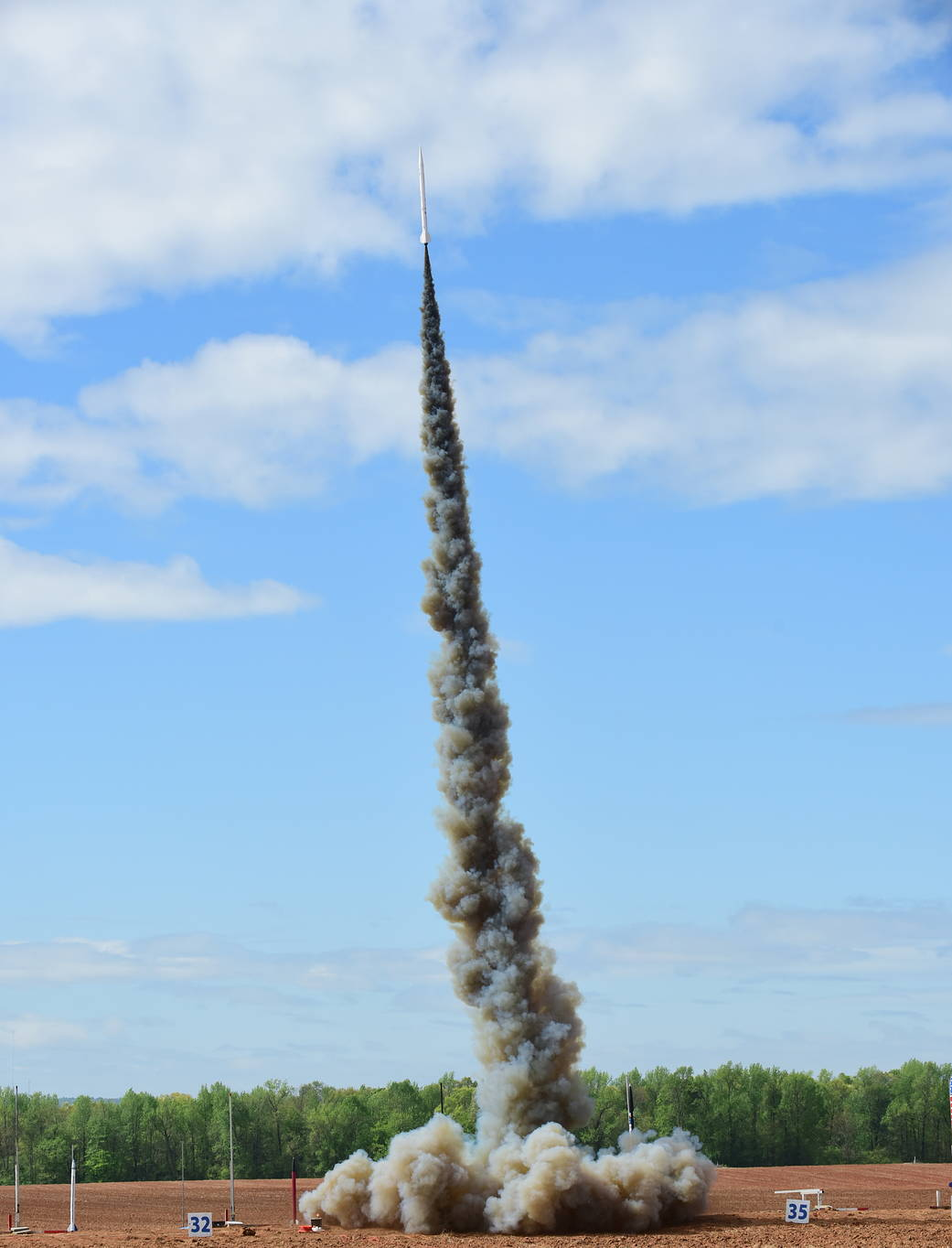 Liftoff of one of dozens of high-powered rockets during the 16th annual Student Launch challenge, April 16, near NASA Marshall