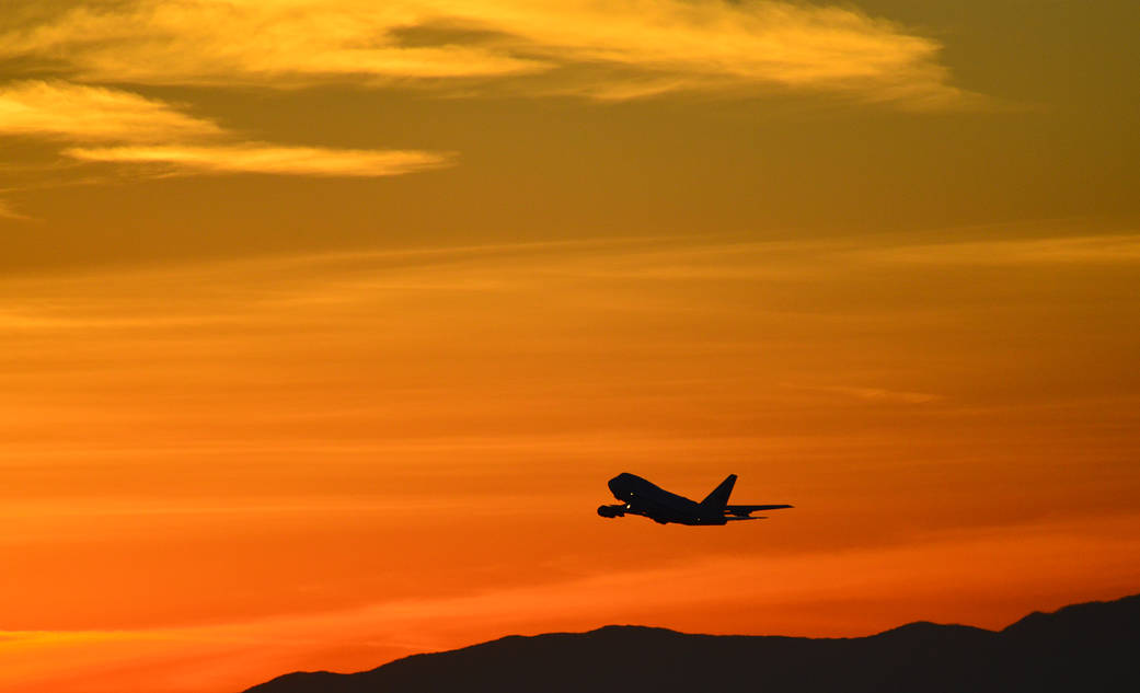 NASA's Stratospheric Observatory for Infrared Astronomy (SOFIA) takes off from home base in Palmdale, California at sunset. The