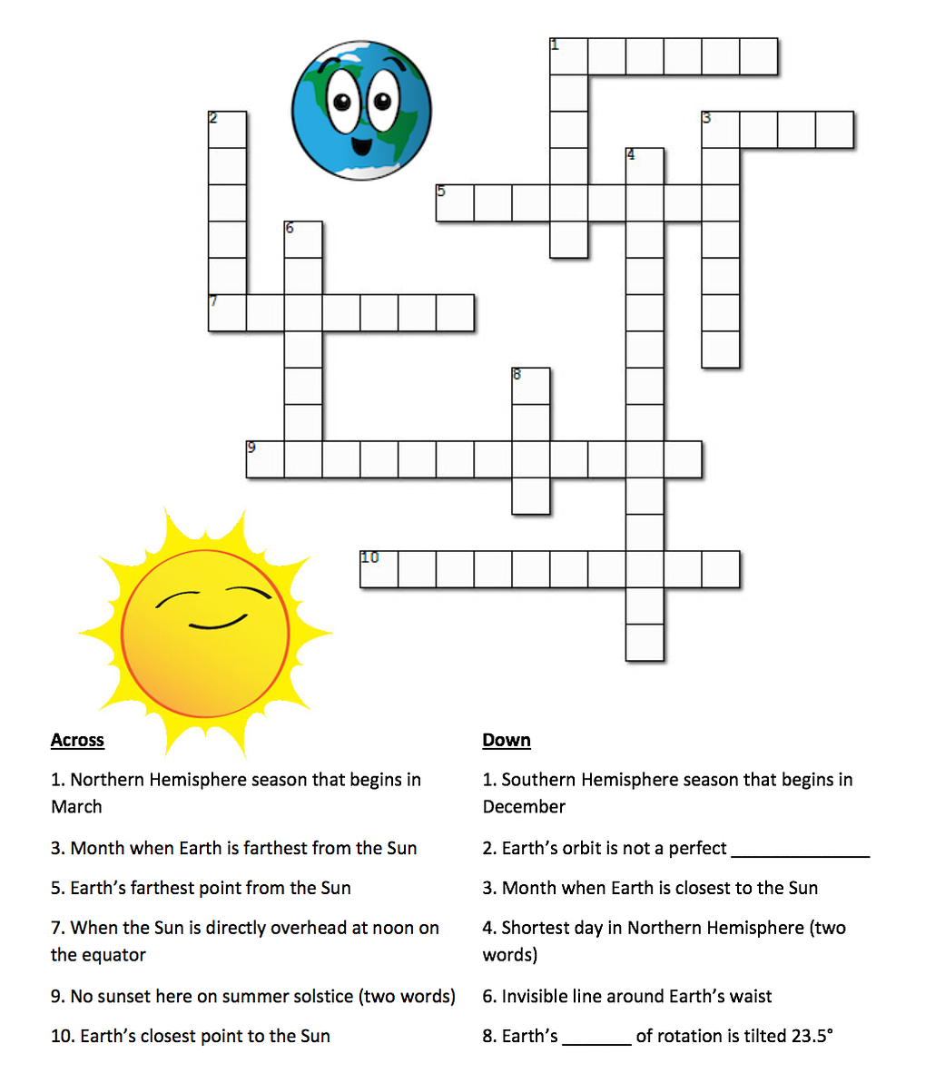 Earth S Seasons And The Sun A Crossword Puzzle Nasa