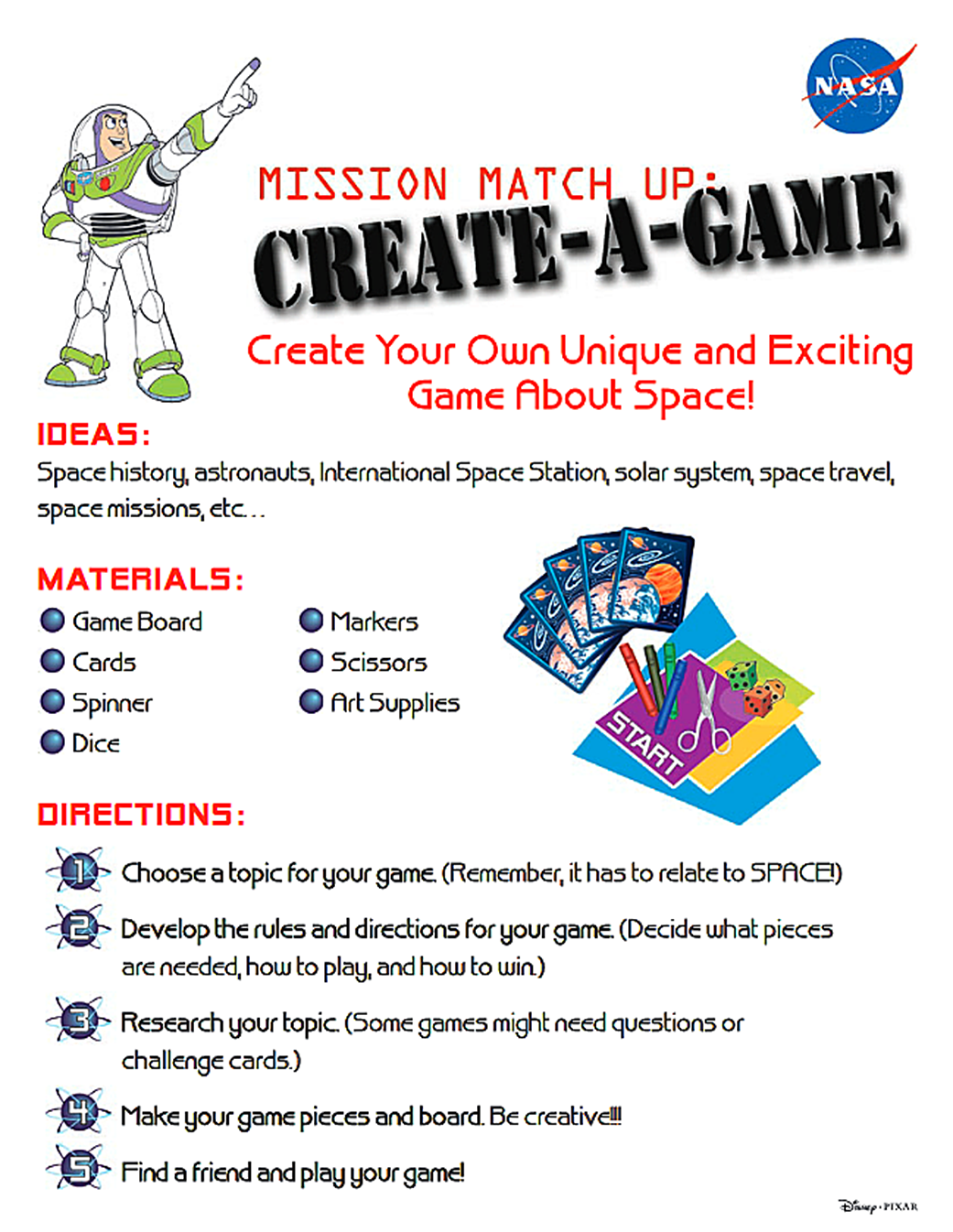 Buzz Lightyear Mission Matchup Create A Game Activity Nasa