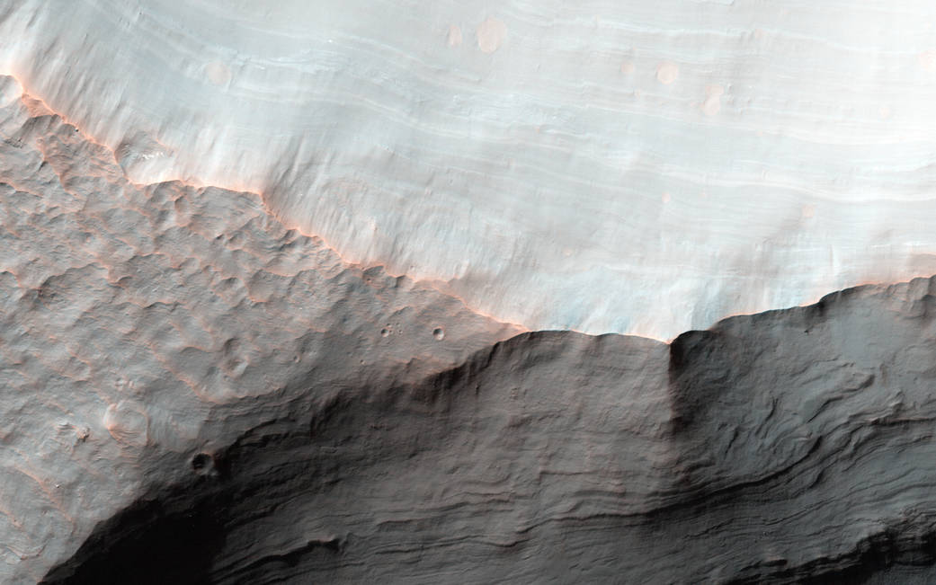 Sloping sediments on Mars surface imaged from orbit