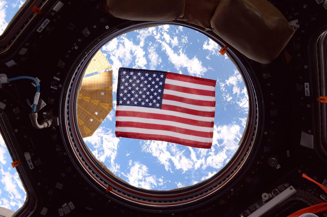 American flag in cupola window