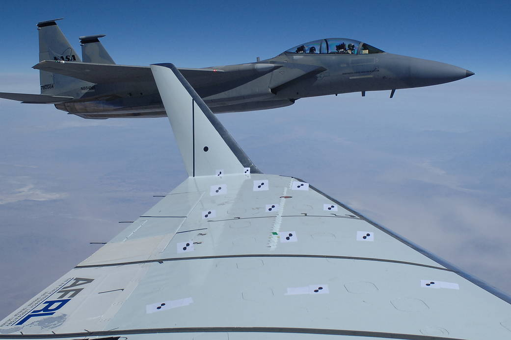 F 15D Plane Flying Chase, Photographed From The Window Of Plane Carrying  Wing Flap