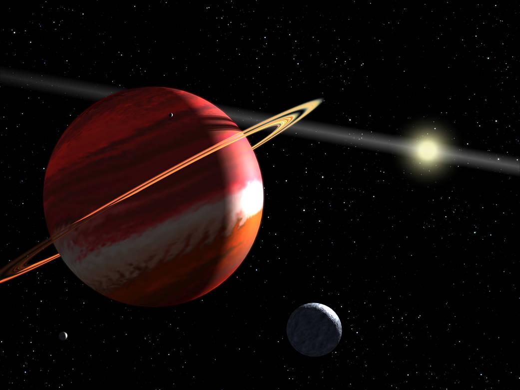 artist's concept of a Jupiter-mass planet orbiting the nearby star Epsilon Eridani
