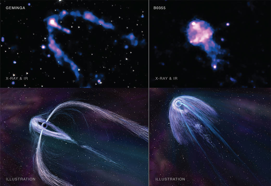 This four-panel graphic shows two pulsars observed by Chandra.
