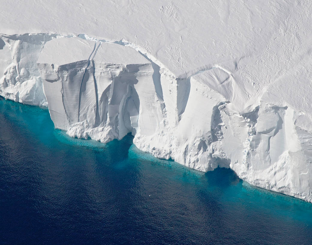 West Antarctic ice shelf at edge with water in front
