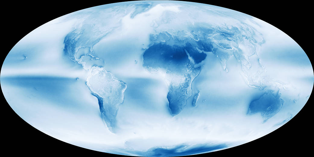 Map of globe with shades from dark blue to white mapping global clouds