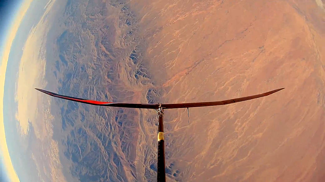 The HiDRON stratospheric glider from Stratodynamics is seen over New Mexico