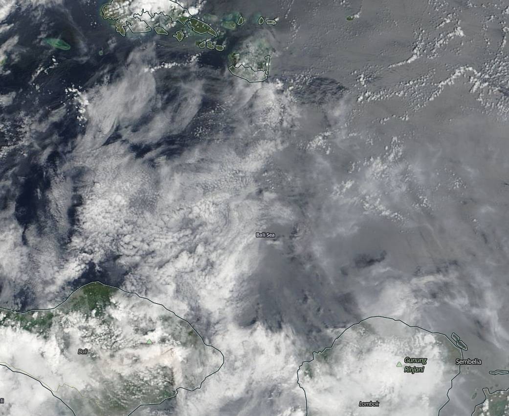 Ash from Mount Agung on the Indonesian island of Bali was visible in imagery from NASA's Terra satellite.