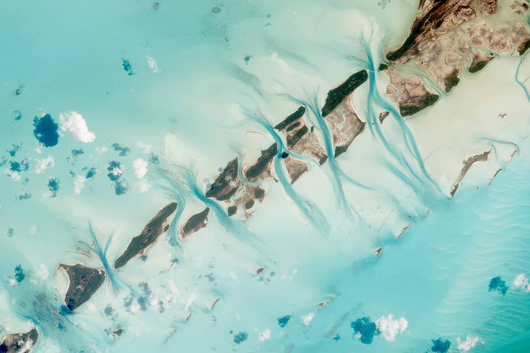 Small islands in the Bahamas photographed from low Earth orbit
