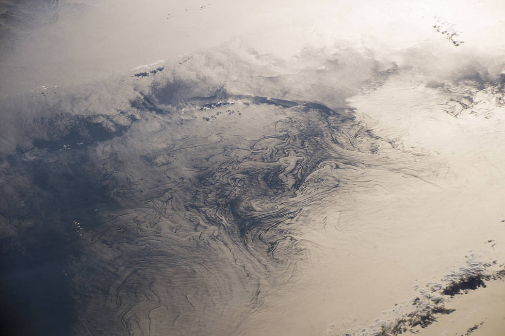Sunglint on water in gulf, photographed from orbit