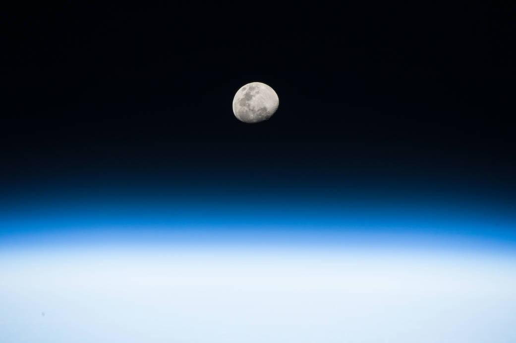 Moonrise with Earth's horizon below