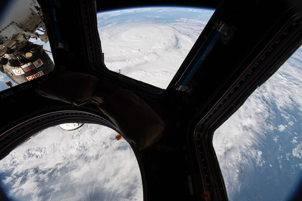 Hurricane in Gulf of Mexico photographed from cupola window in orbit