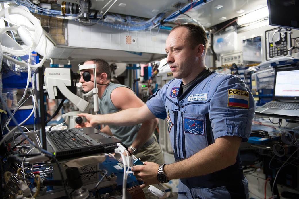Cosmonauts Alexander Misurkin and Sergey Ryazanskiy