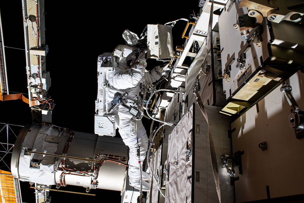 NASA astronaut Bob Behnken during a spacewalk