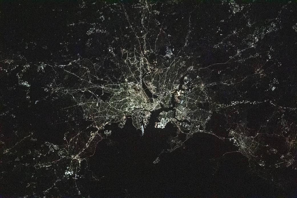 Night time photograph of Boston, Massachusetts