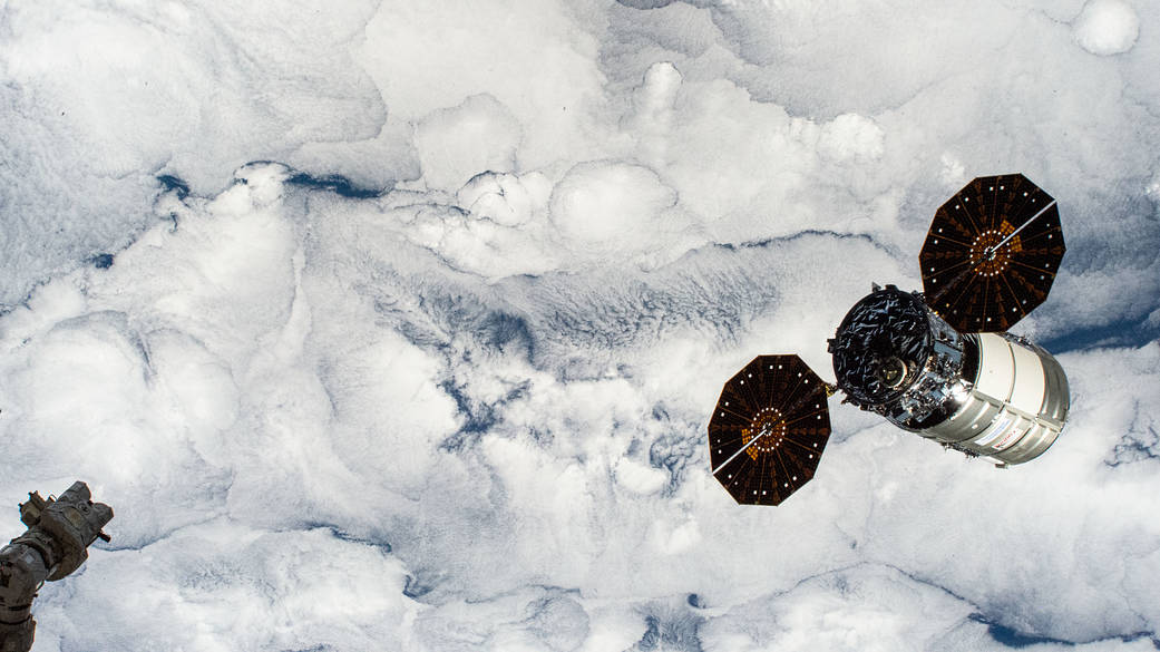 Cygnus space freighter departs the International Space Station