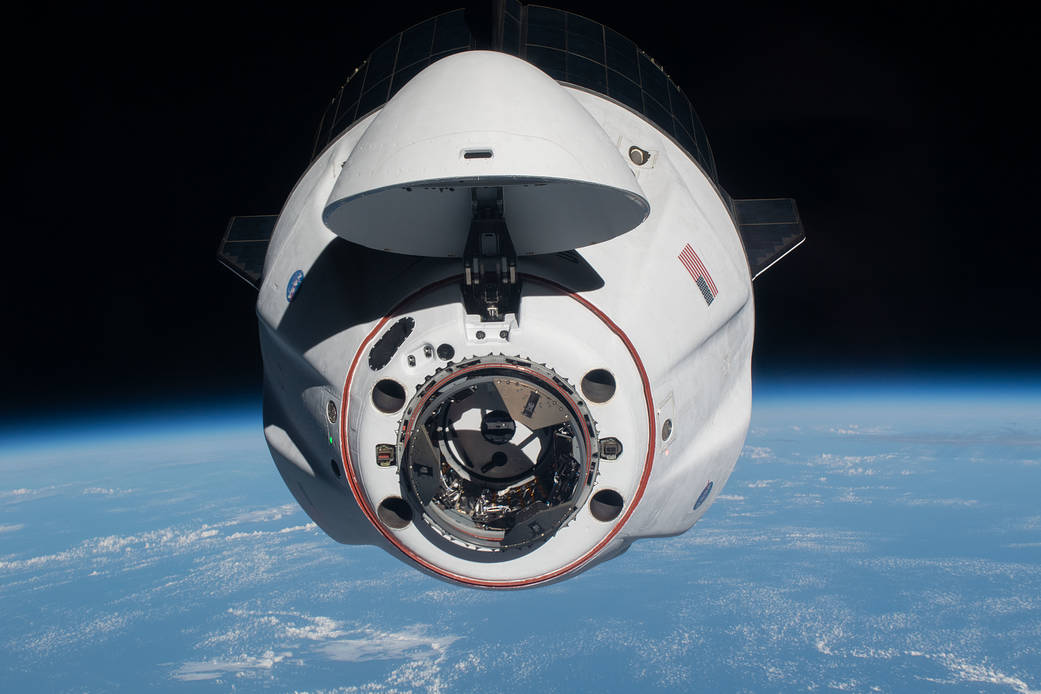 The SpaceX Crew Dragon Endeavour approaches the space station