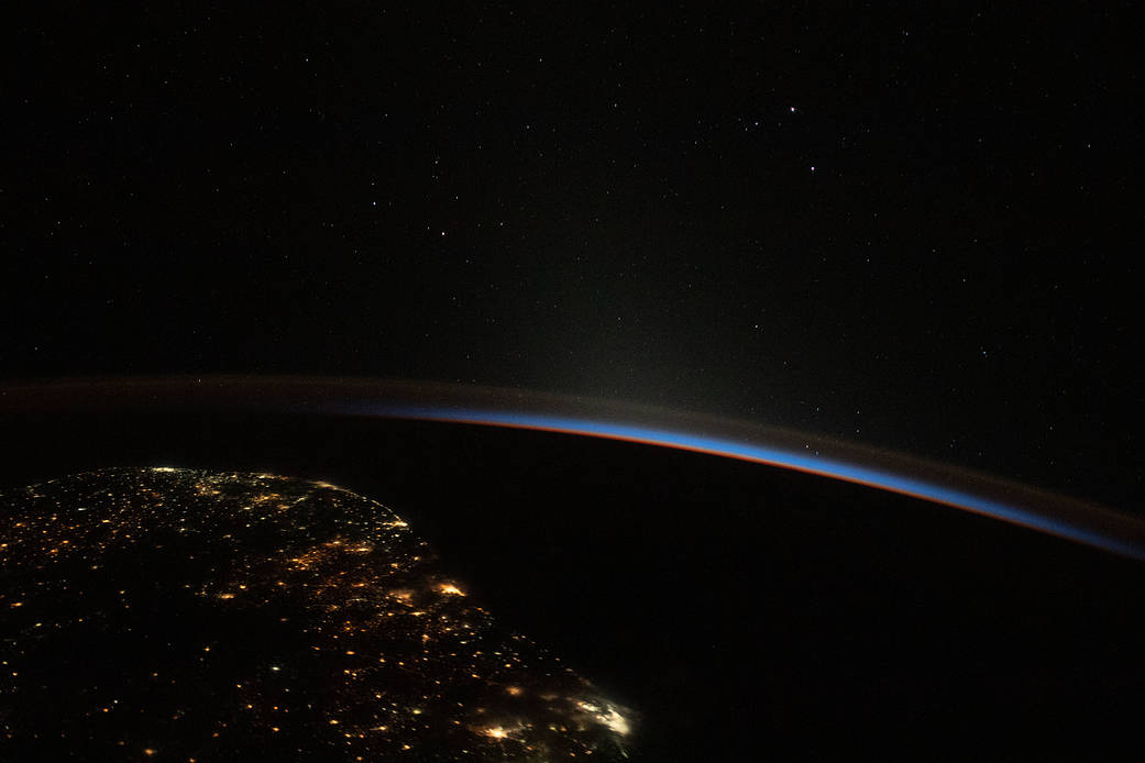 The southeast coast of Brazil at night