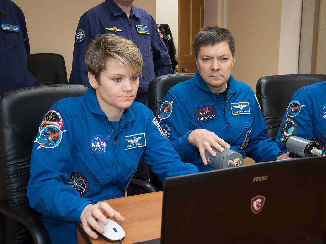 Anne McClain of NASA and Oleg Kononenko of Roscosmos