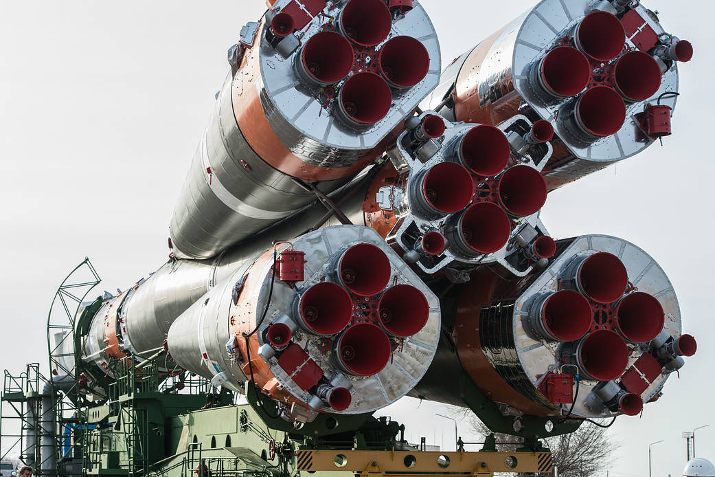 The Soyuz 2.1a rocket carrying the Soyuz MS-16 spacecraft is transported to the launch pad