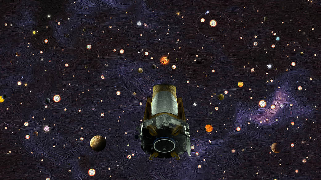 Kepler over oil paint filter background