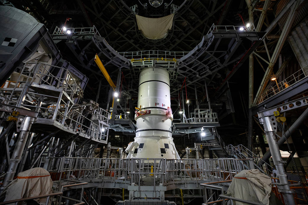 1st of 10 the twin SLS rocket boosters for Artemis I was placed on the mobile launcher