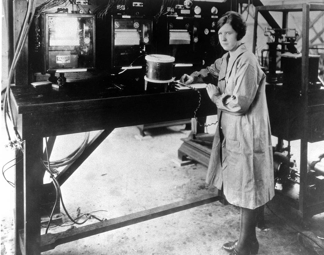 Pearl Young at work in aeronautics research facility, 1929